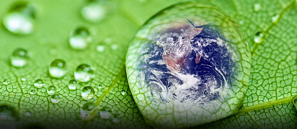 Planet Earth in drop of water on leaf
