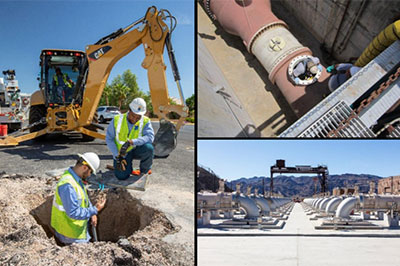 Collage of photos of people working on job sites